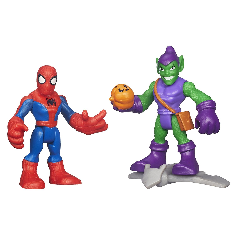 Heroes Marvel Super Hero Adventures Spiderman and Green Goblin Figures, Spiderman figure... by