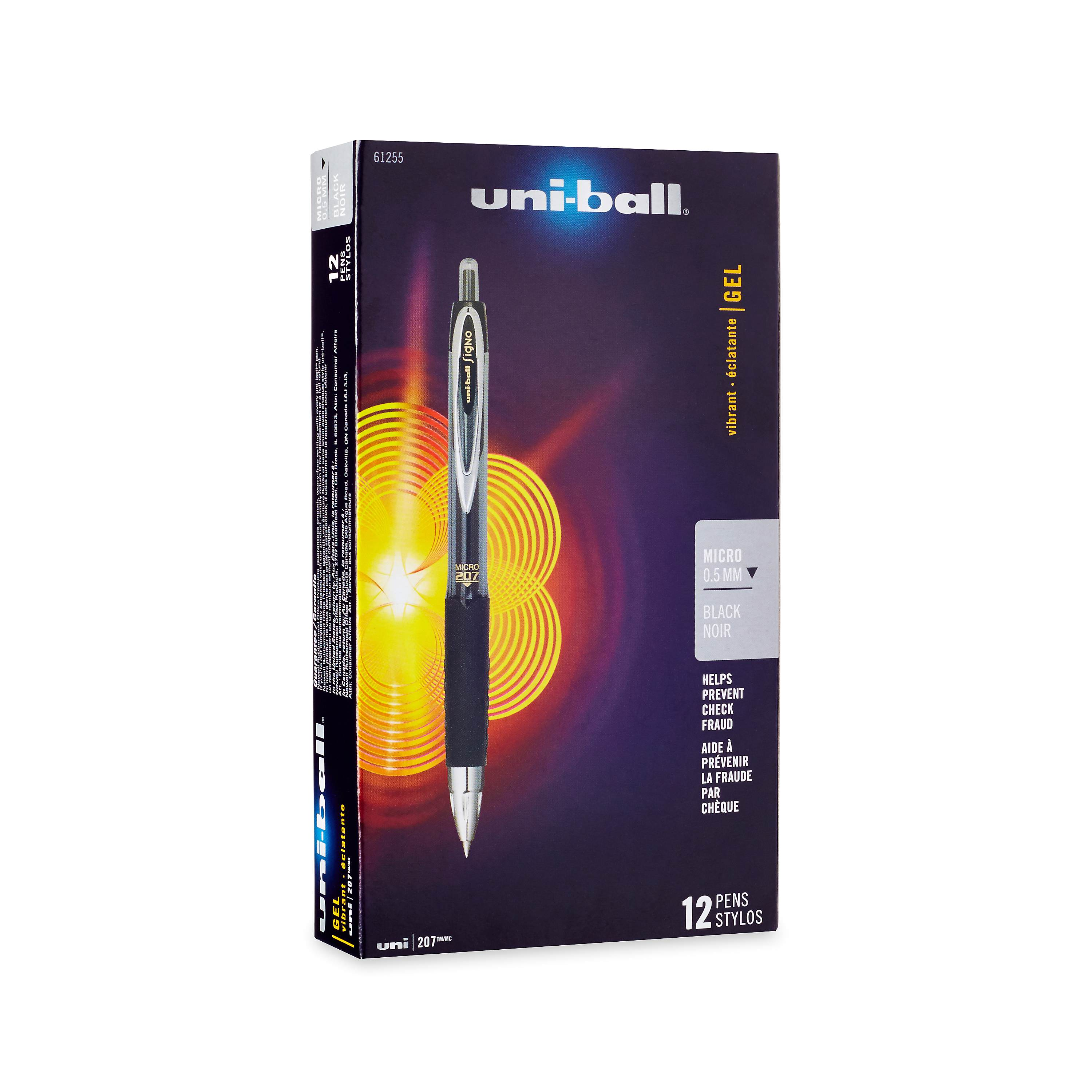 uni-ball 207 Retractable Gel Pens, Micro Point, Black, Box of 12