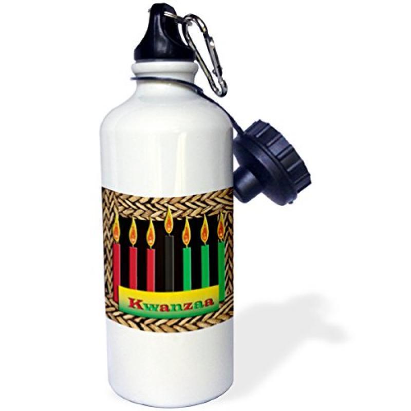 3dRose Candles of Kwanzaa, Sports Water Bottle, 21oz