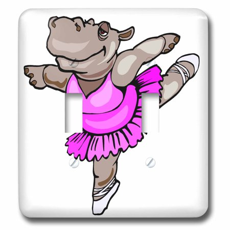 3dRose Hippo Ballet Dancer - Double Toggle Switch (lsp_48519_2) - Fantasia Hippo Ballet