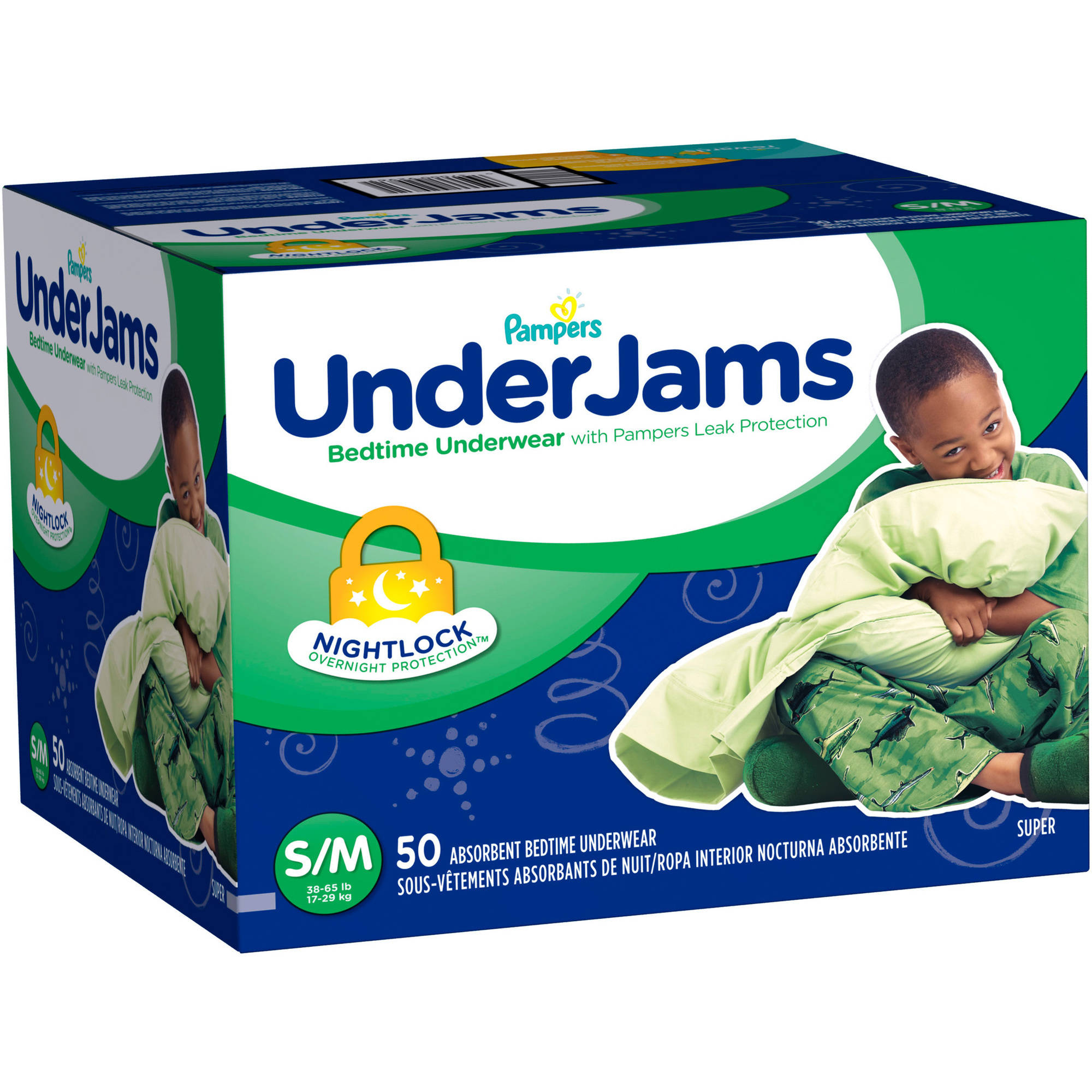 Pampers UnderJams Boys' Bedtime Underwear, Size S/M (Choose Pant Count)