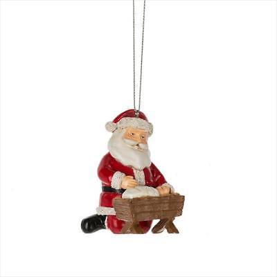 5ce7a8f7d6f SANTA KNEELING Before Baby Jesus Christmas Ornament