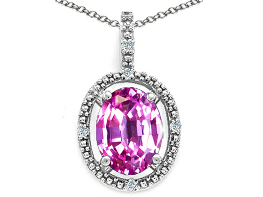 Tommaso Design Oval 9x7mm Simulated Pink Tourmaline Pendant Necklace by
