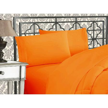Elegant Comfort®  Silky-Soft 1800 Series  - Wrinkle-Free 4-Piece Bed Sheet Set, Deep Pocket up to 16 inch, Queen Vibrant Orange - Orange Sheets