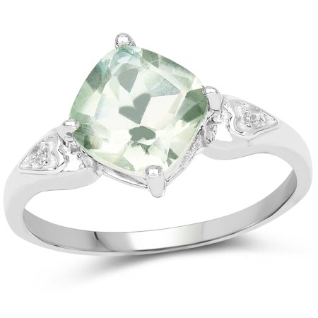 925 Sterling Silver Genuine Green Amethyst and White Topaz Ring (2.16 Carat) Multiple Sizes (Green Amethyst And Diamond Ring)