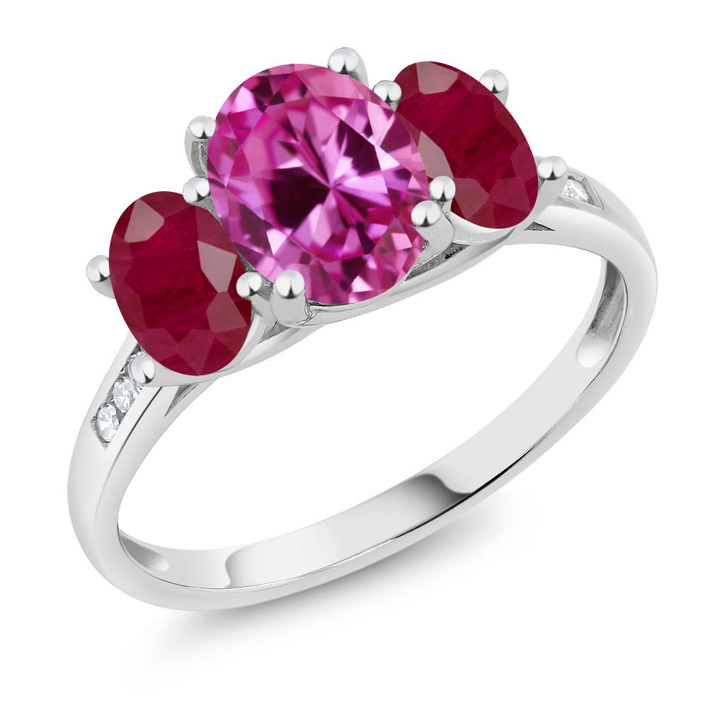 10K White Gold 2.85 Ct Oval Pink Created Sapphire Red Ruby 3-Stone Ring by
