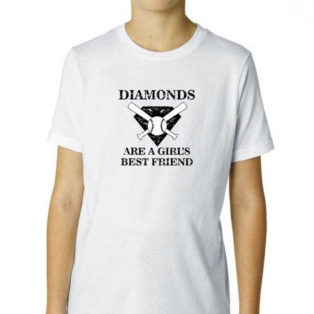Baseball - Diamonds Are A Girl's Best Friend - Bats Boy's Cotton Youth