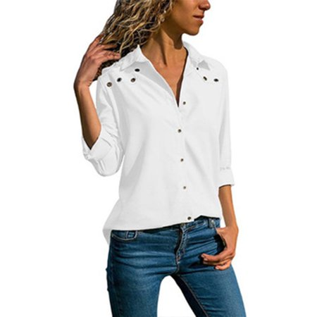 cf785d6058d1 Fresh look - Women's Chiffon Long Sleeves V Neck Button Down Shirts Blouses  Tops - Walmart.com