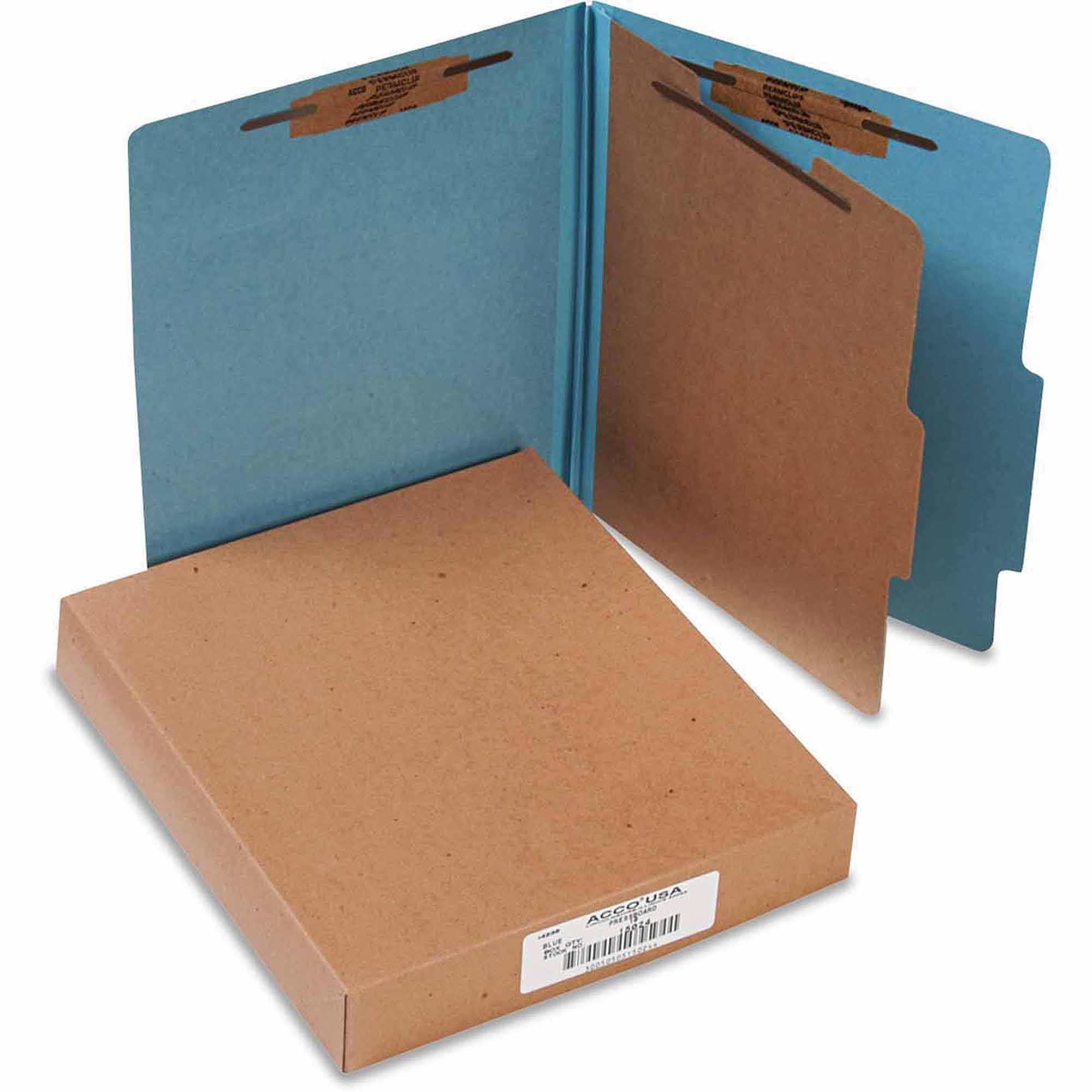ACCO 25-Point Pressboard Classification Folders, Letter, 4-Section, Sky Blue, 10-Pack
