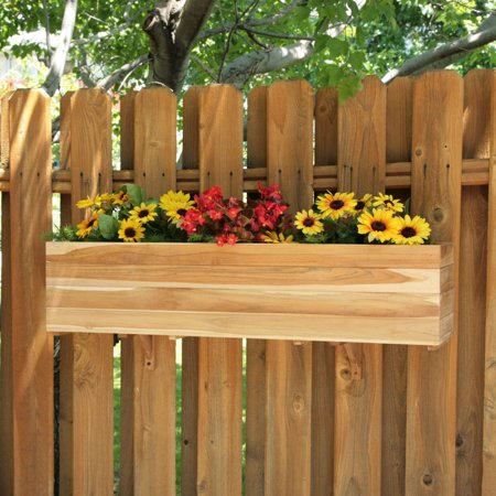 - Rectangle Teak Wood Sunshine Flower Box