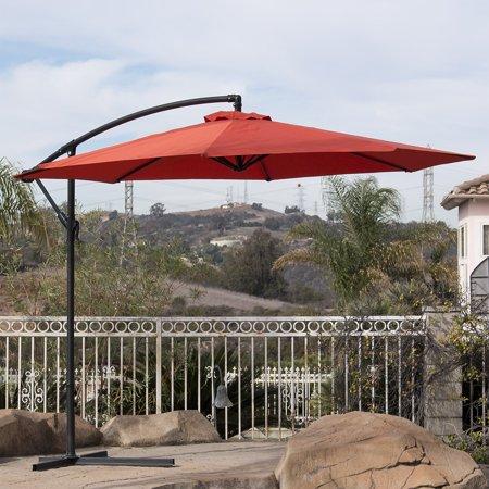 Belleze Premium Outdoor Patio Umbrella 10 Aluminum Cantilever Market Poly Tilt W Crank