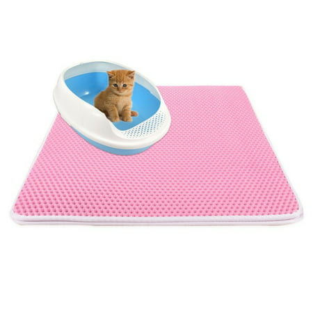 Cat Litter Mat Litter Trapping Mat, 55*75cm Inch Honeycomb Double Layer Design Waterproof Urine Proof Trapper Mat for Litter Boxes, Large Size Easy Clean Scatter Control (Stop Scatter Cat Litter Box)