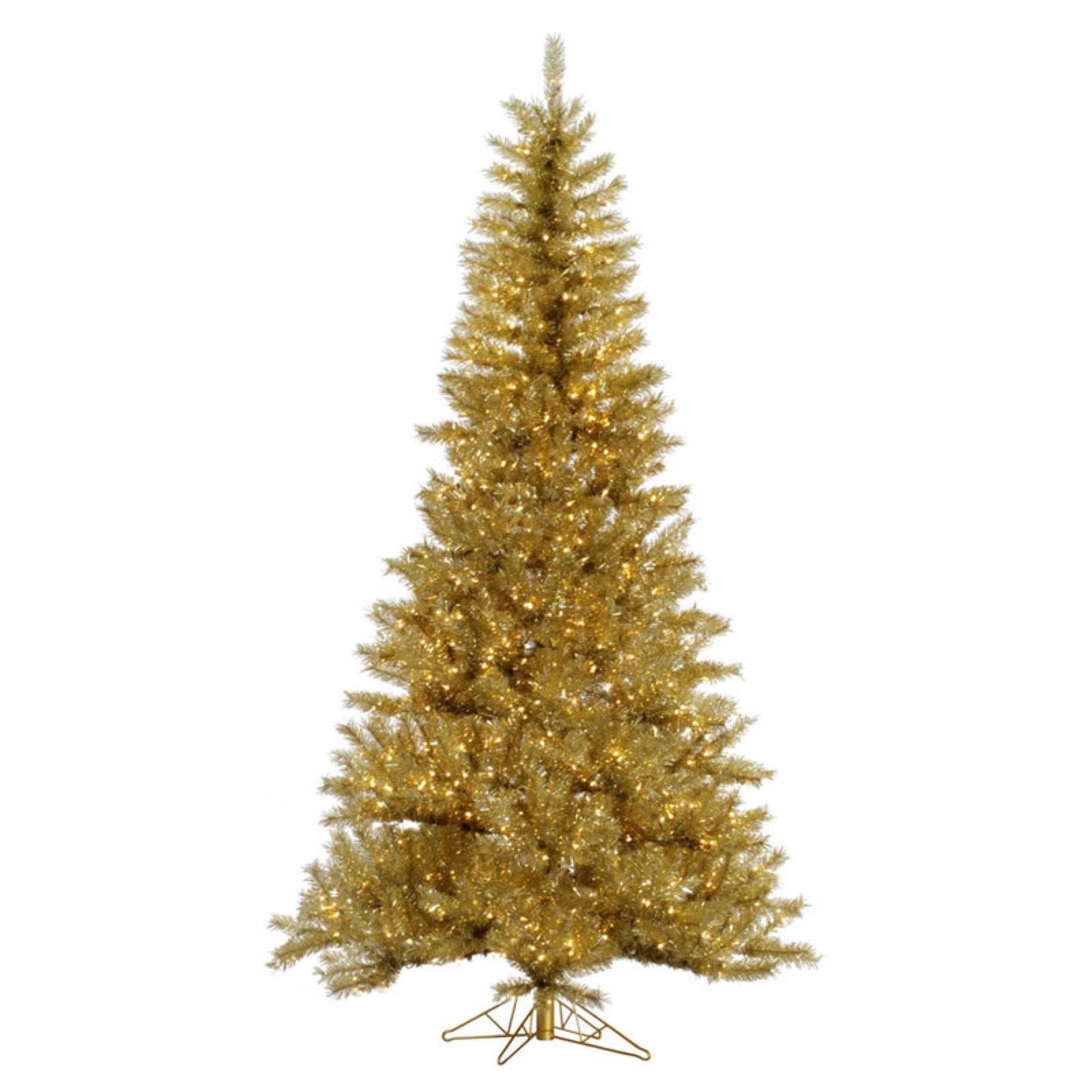 Vickerman Gold / Silver Tinsel Pre-lit Christmas Tree