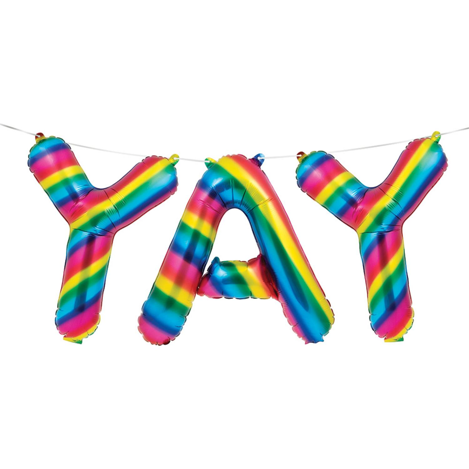 "Club Pack of 36 White Background Rainbow ""YAY"" Sign Balloon Banner 9.8"""