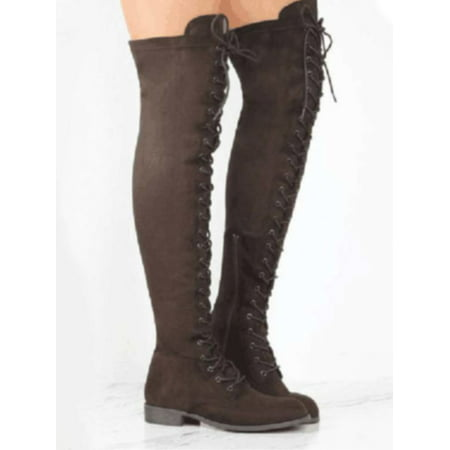 c74c275b1d7f Women Lace Up Side Zip Over The Knee Boots Ladies Thigh High Low Heel Shoes  - Walmart.com