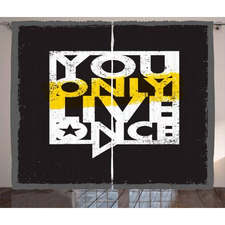 YOLO Curtains 2 Panels Set, Contemporary Style Message on Life in a Speech Bubble Grunge Background, Window Drapes for Living Room Bedroom, 108W X 90L Inches, Black White and Yellow, by Ambesonne