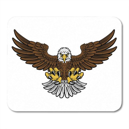 Outstretched Wings (KDAGR Cartoon Bald American Eagle Mascot Swooping Claws Out and Wings Outstretched Four Color Only Brown Mousepad Mouse Pad Mouse Mat 9x10 inch)