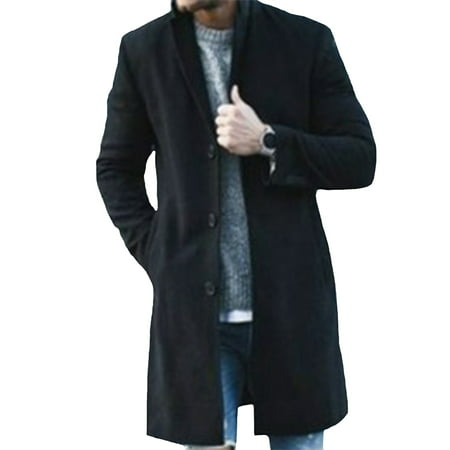 Men Winter Trench Coat Slim Fit Turn Down Collar Knit Cuffs Woolen Coat Business Jacket Overcoat