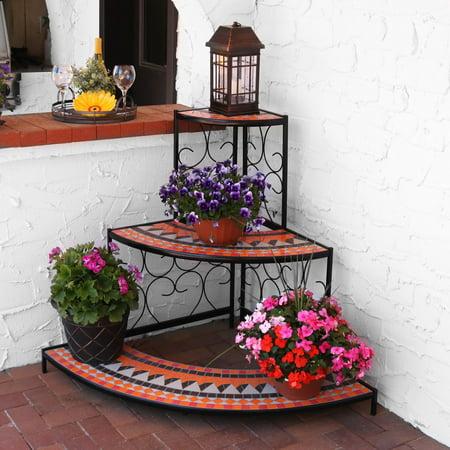 Sunnydaze Large 3 Tier Mosaic Plant Stand Indoor Outdoor Metal Corner Flower Pot Shelf 40 Inch Tall