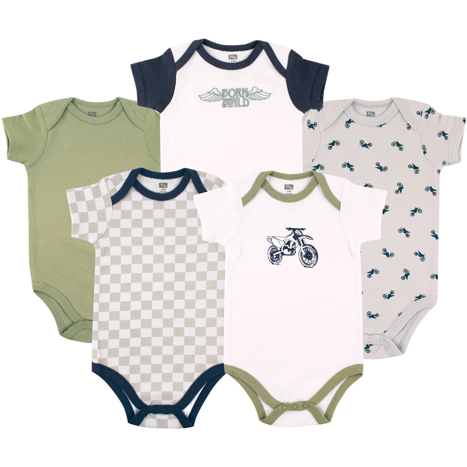 Hudson Baby Newborn Baby Boys 5 Pack Bodysuit - Dirt Bike