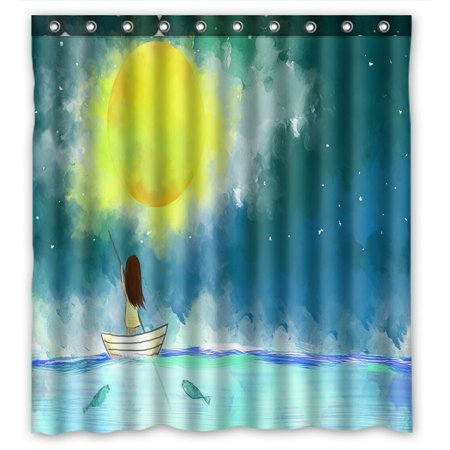 PHFZK Night Sky Shower Curtain, Girl Sail Boat in the Ocean over Full Moon Moonlight Polyester Fabric Bathroom Shower Curtain 66x72 inches](Girl In The Shower)
