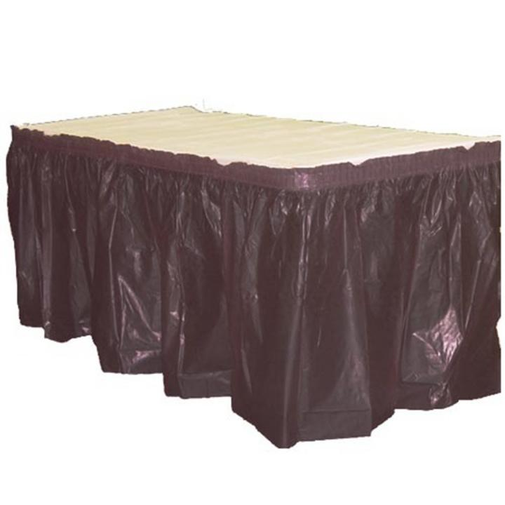 Exquisite 6 Pack Black Plastic Table Skirt, 14 ft x 29 in