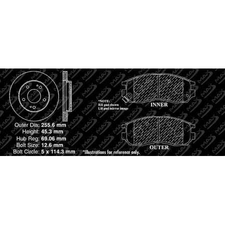 Max Brakes Front Elite Brake Kit [ E-Coated Slotted Drilled Rotors + Metallic Pads ] TA028281 | Fits: 1999 99 2000 00 Mitsubishi Galant 4 Cylinder Models - image 8 of 8