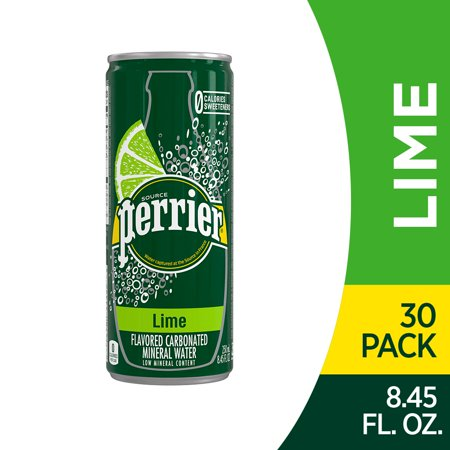 Perrier Lime Flavored Carbonated Mineral Water, 8.45 fl oz. Slim Cans (30 Count) Perrier Sparkling Water