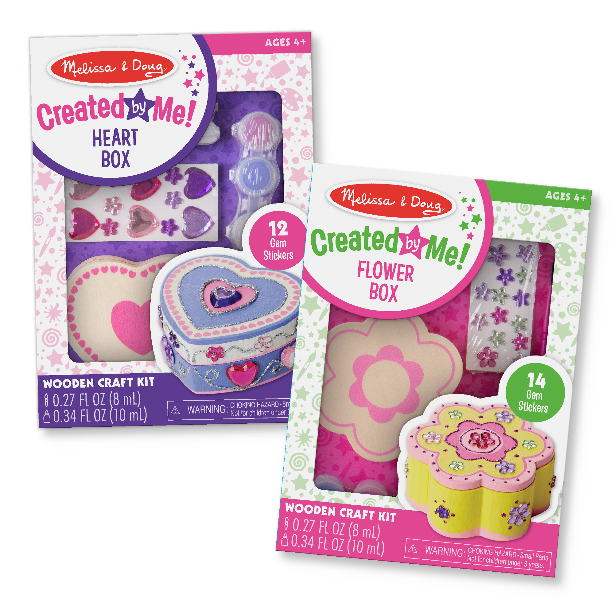 Melissa & Doug Created by Me! Paint & Decorate Your Own Wooden Trinket Box Craft Kit For Kids 2 Pack – Heart Box, Flower Box