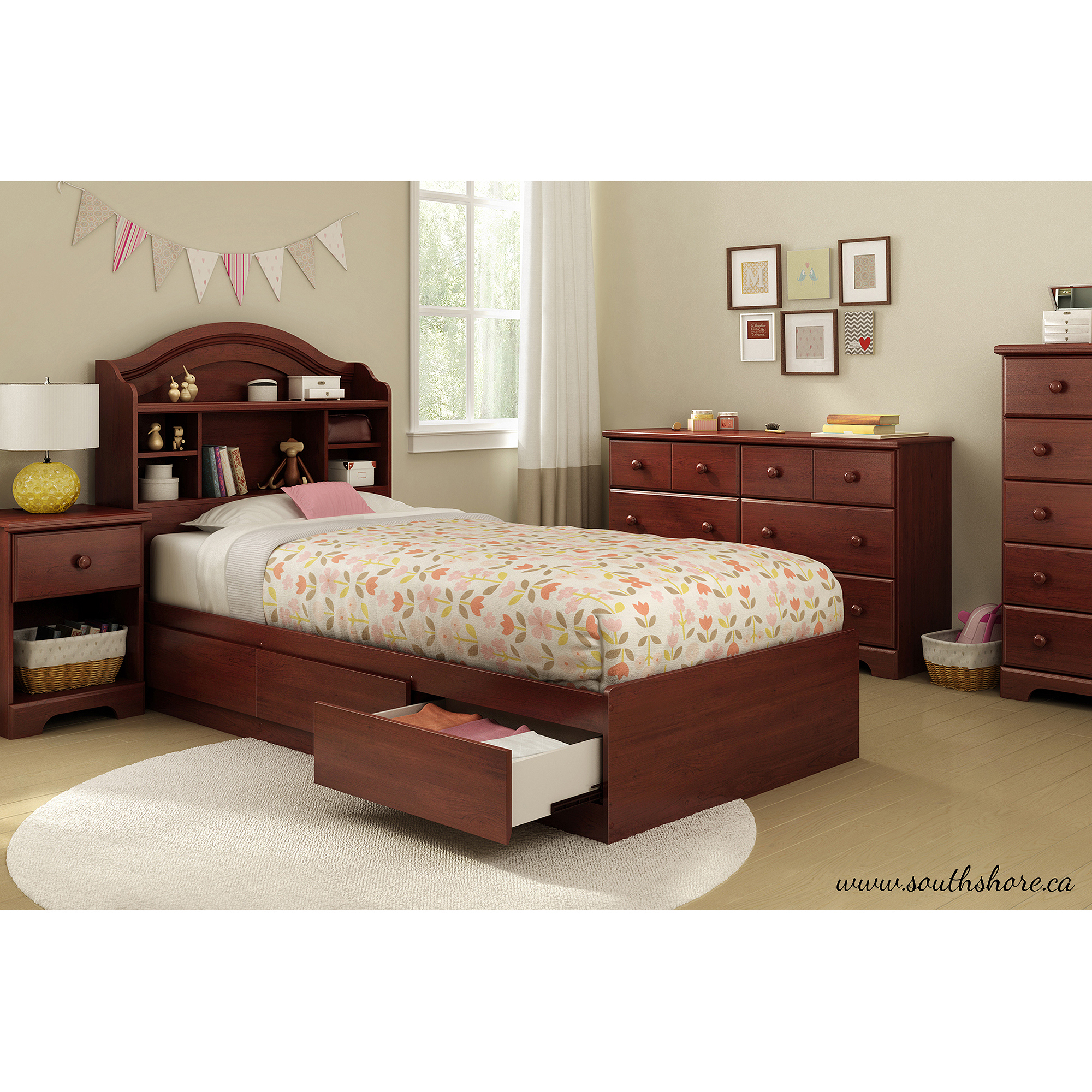 South Shore Summer Breeze Twin Mate s Bed with Storage Multiple
