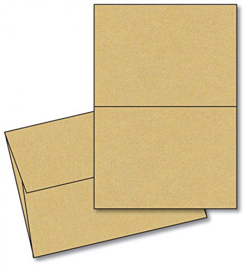 "Curious Metallic - Gold Leaf - 5"" X 7"" Heavyweight Blank Greeting Card Sets - 25 Cards & Envelopes"
