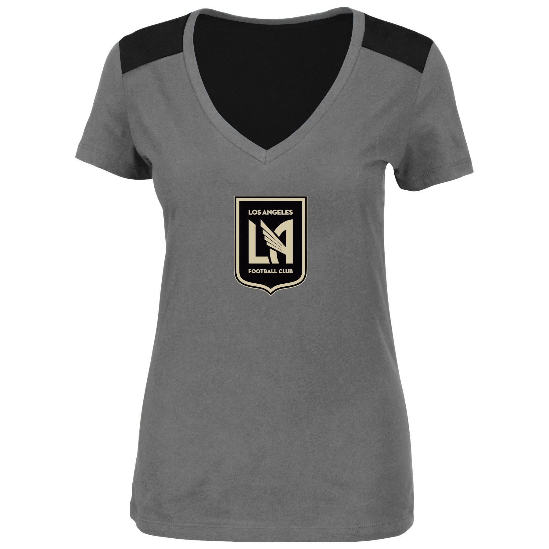 LAFC Majestic Women's V-Neck Contrast T-Shirt - Charcoal