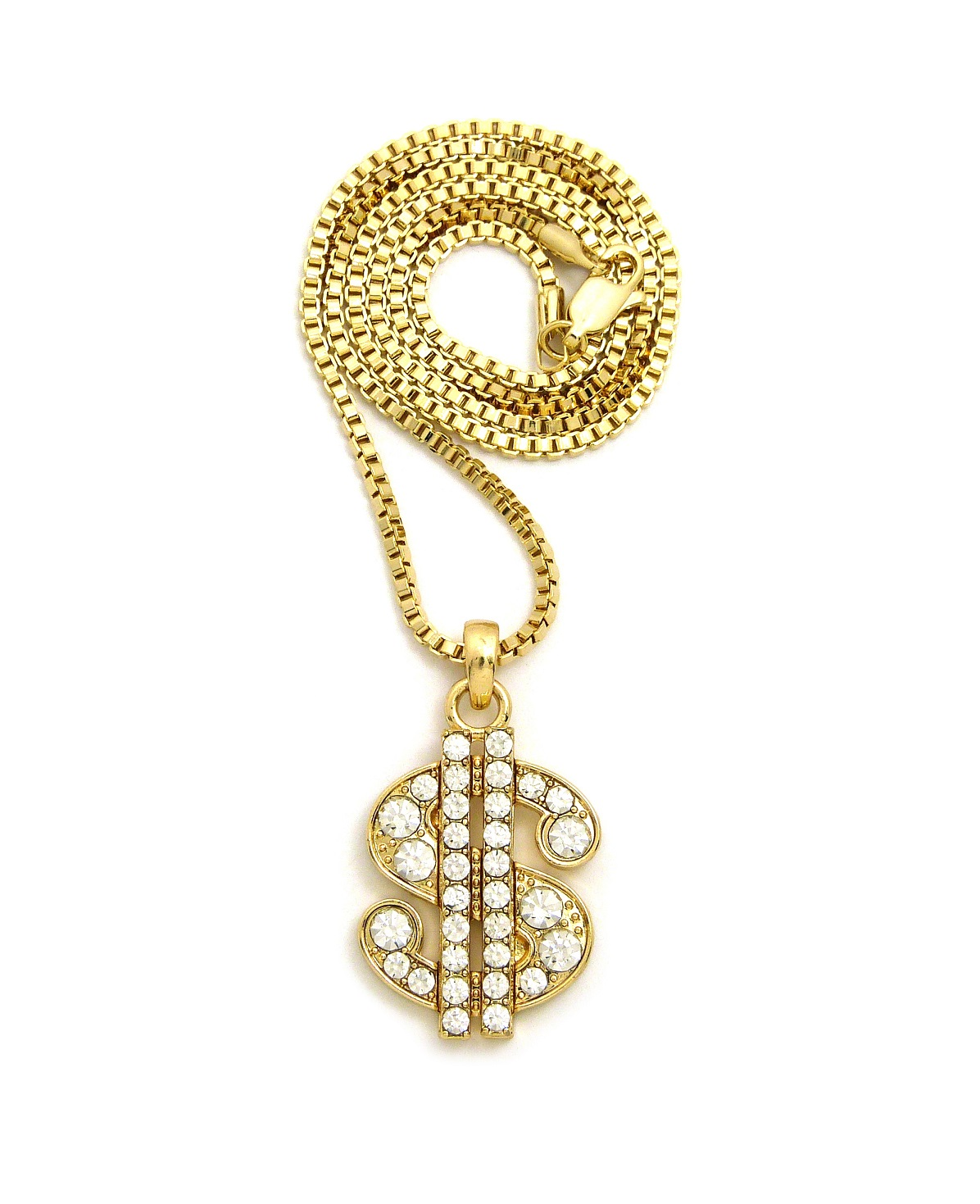 Stone Stud Dollar Sign Micro Pendant with 2mm 24 Box Chain Necklace Gold-Tone