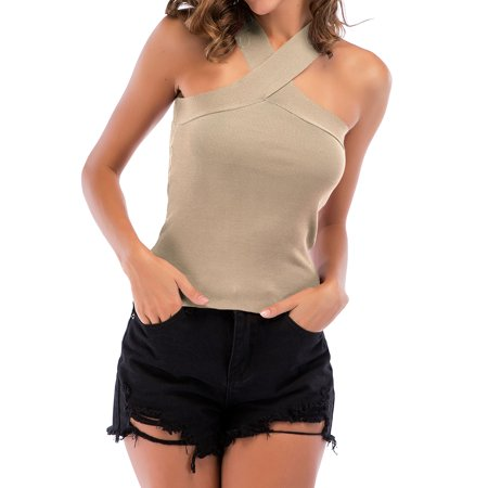 ZXZY Women Halter Neck Criss Cross Bandage Tank Top Solid Color Knit Cami Top