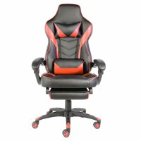 C-type Foldable Nylon Foot Racing Chair with Footrest Black & Red