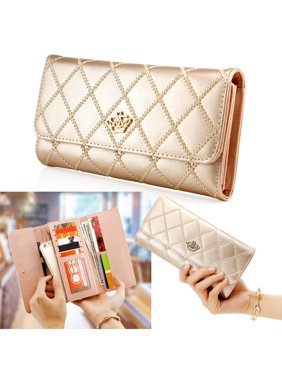 8f998e82d2a3 Product Image Fashion Lady Check Plaid Faux Leather Women Wallet Clutch  Long Purse Card Holder Handbag