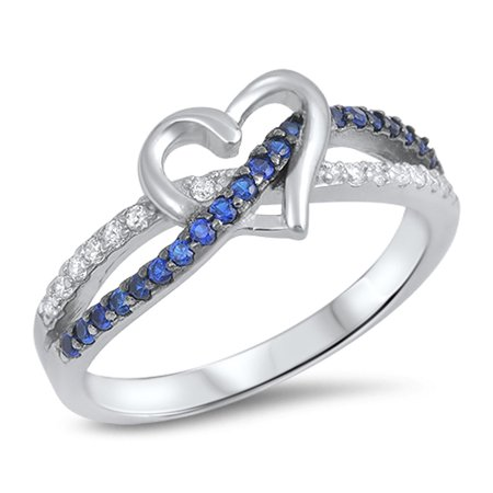 CHOOSE YOUR COLOR Blue Simulated Sapphire Infinity Knot Promise Heart Ring .925 Sterling Silver -