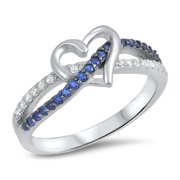 CHOOSE YOUR COLOR Blue Simulated Sapphire Infinity Knot Heart Ring .925 Sterling Silver Band (Blue Simulated Sapphire/Ring Size 9)