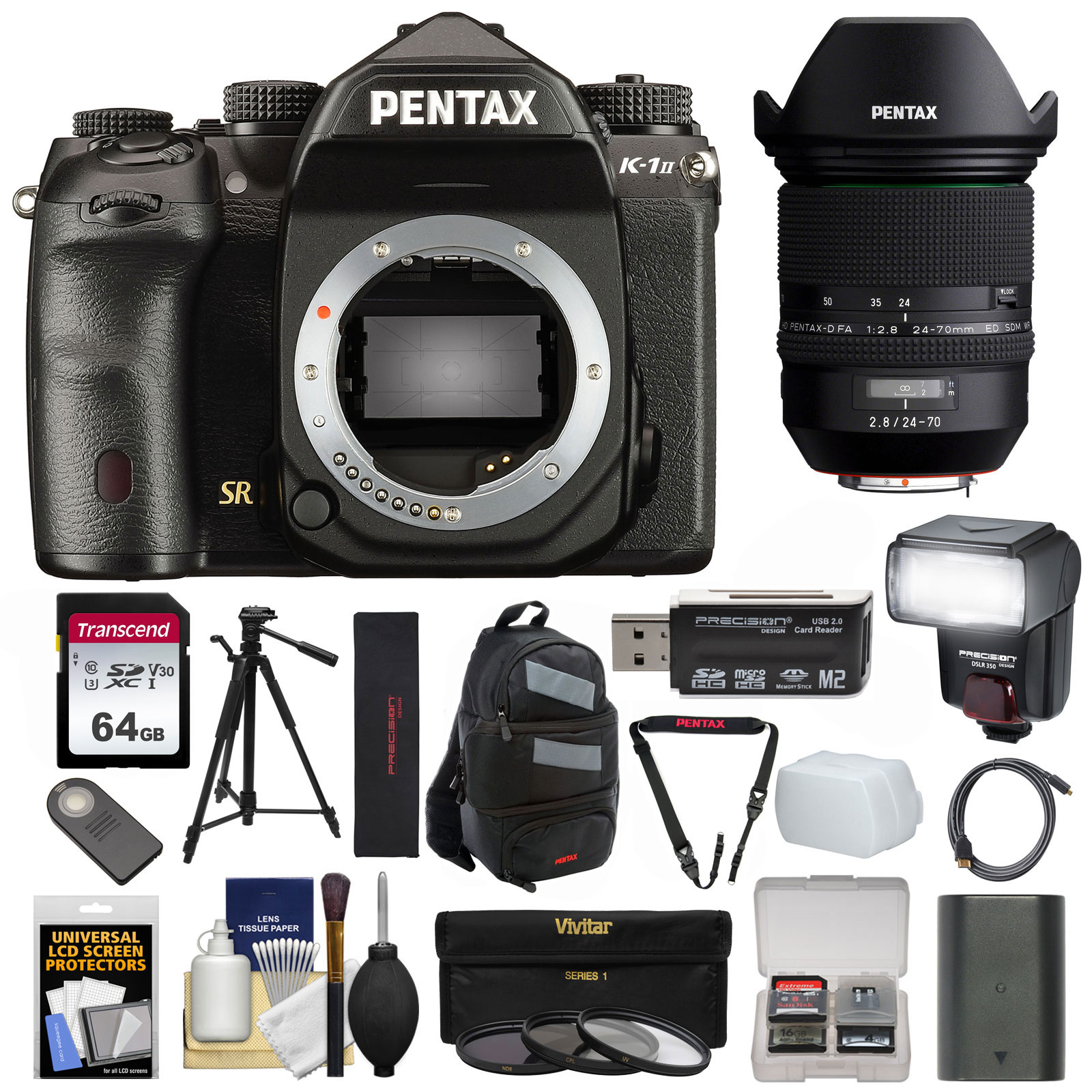 Pentax K-1 Mark II Full Frame Wi-Fi Digital SLR Camera Body with 24-70mm f 2.8 Lens + 64GB Card + Battery +... by Pentax