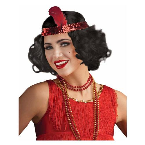 Black Curly Flapper Wig with Headband