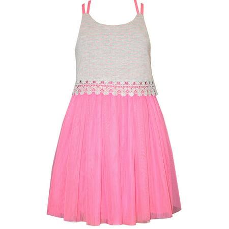 - Bonnie Jean  Girls Summer Dress 7 - 16 Pink Lace Tulle Sundress 10