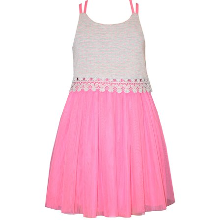 Girls Sun Dress (Bonnie Jean  Girls Summer Dress 7 - 16 Pink Lace Tulle Sundress)