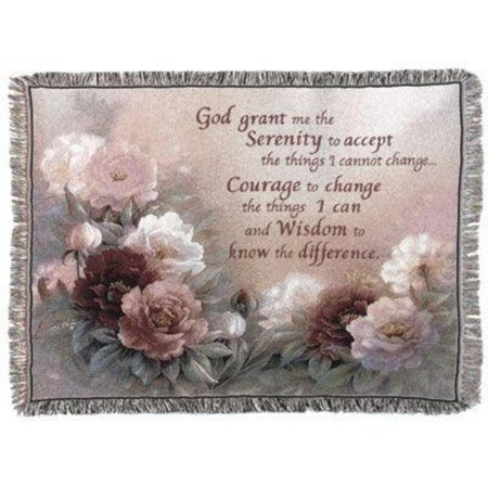 "Serenity Prayer with Flowers Tapestry Throw Blanket 50"" x 60"""