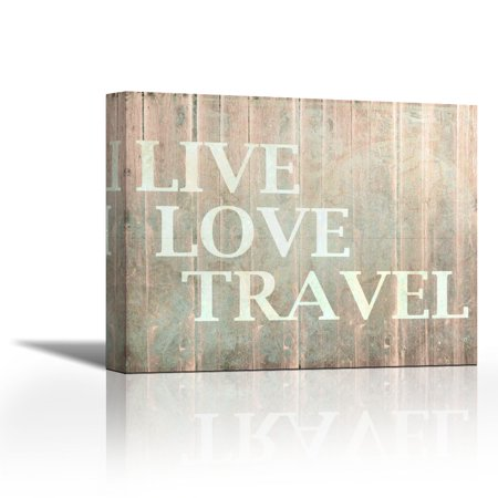 Live Love Travel Contemporary Fine Art Giclee On Canvas Gallery Wrap Wall Décor Painting 27 X 22 Inch Ready To Hang