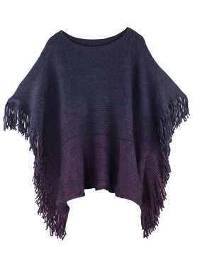 Styles I Love Womens Knit Two Tone Batwing Fringe Poncho Cardigan Pullover Cozy Sweater Wrap Jacket (Navy Blue)