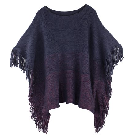 Styles I Love Womens Knit Two Tone Batwing Fringe Poncho Cardigan Pullover Cozy Sweater Wrap Jacket (Navy Blue) Wrap Sweater Jacket