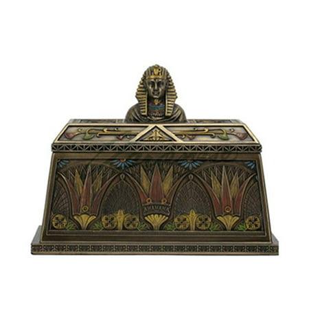 Unicorn Studios WU76532A4 Art Deco - Egyptian Pharaoh Bust Trinket Box - Bronze