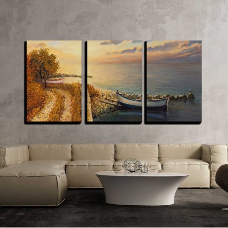wall26 - 3 Piece Canvas Wall Art - an Oil Painting on Canvas of a Romantic Colorful Sunrise by the Sea with a Boat - Modern Home Decor Stretched and (Sunrise Oil Painting)