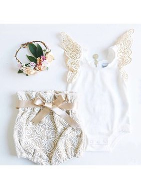 Newborn Infant Baby Girl Clothes Butterfly Sleeve Tops Romper +Lace Shorts Pants Outfits Set