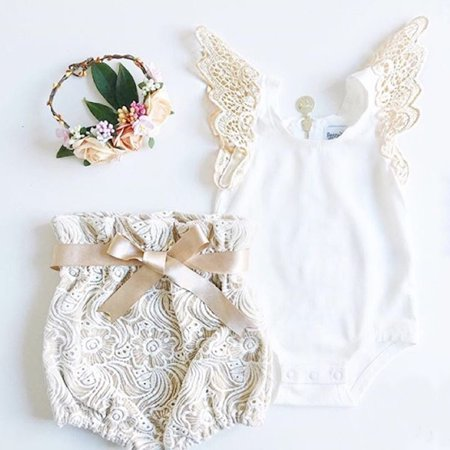 Newborn Infant Baby Girl Clothes Butterfly Sleeve Tops Romper +Lace Shorts Pants Outfits Set - Newborn Girl Halloween Outfits